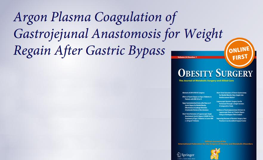 Argon Plasma Coagulation of Gastrojejunal Anastomosis for Weight Regain After Gastric Bypass Por Dr. Giorgio Baretta